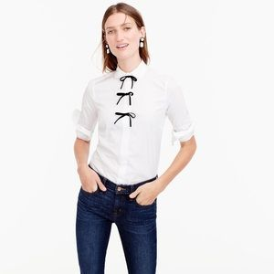 J.Crew White Perfect Shirt with Velvet Bows